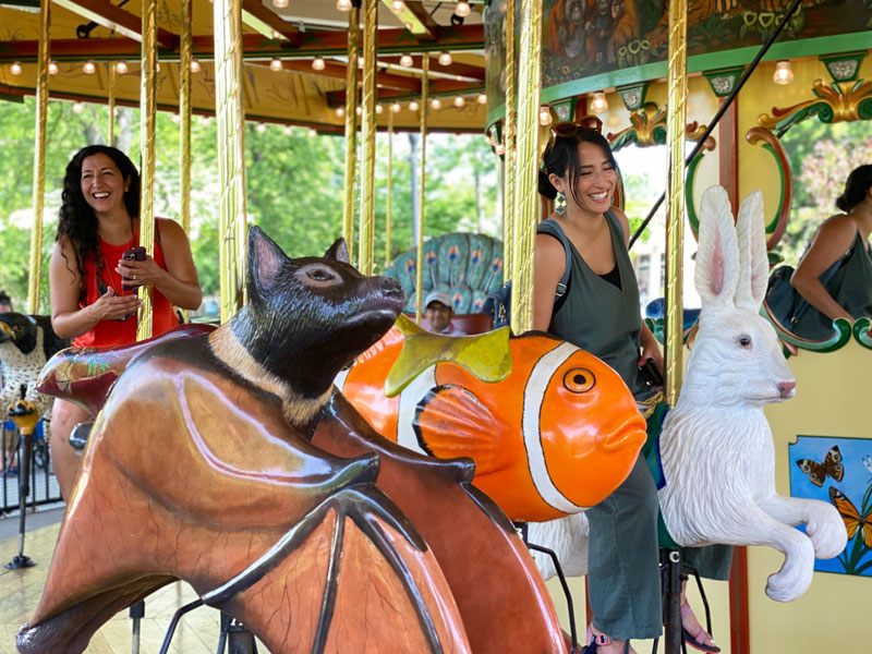 All ages enjoy the Detroit Zoo carousel.