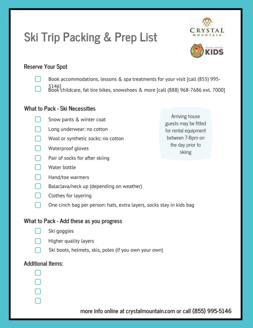 graphic about Ski Trip Packing List Printable identified as How towards Gown for Chilly Climate Things to do inside Michigan - Moreover