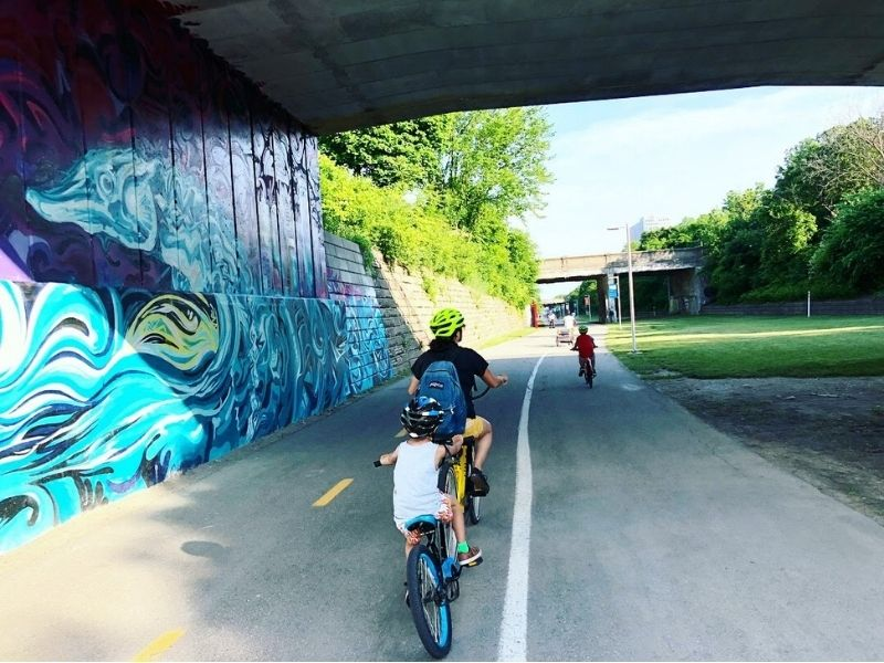 Dequindre Cut Greenway Space Rails to Trails family biking