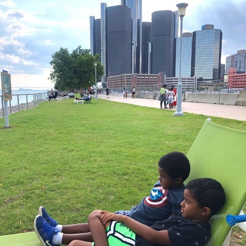 Detroit lounge seating riverfront