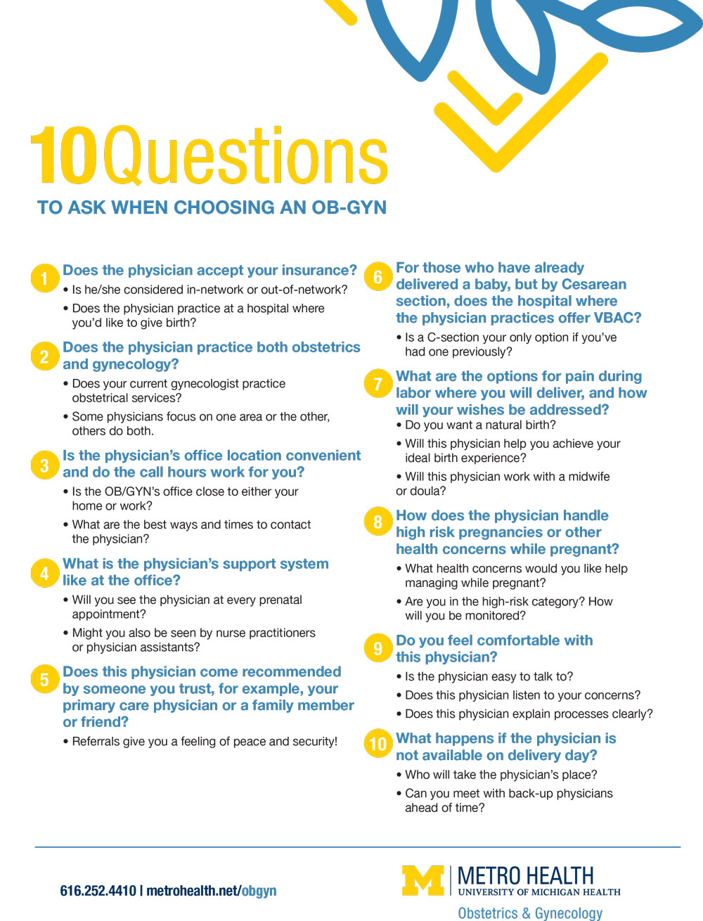 10 Questions to ask your OBGYN Metro Health printable