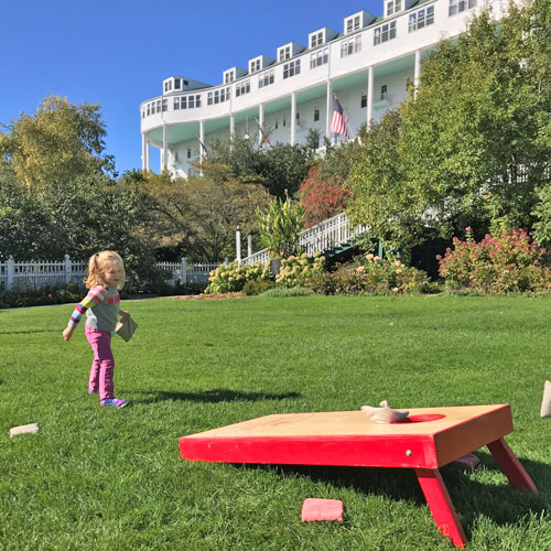 Mackinac Island Grand Hotel Baggo on lawn
