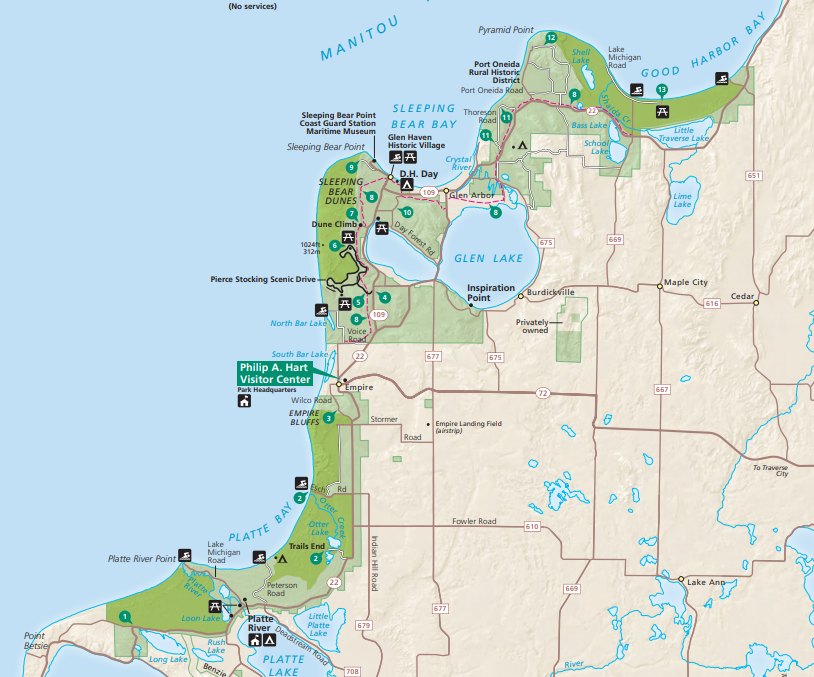sleeping bear dunes national lakeshore map