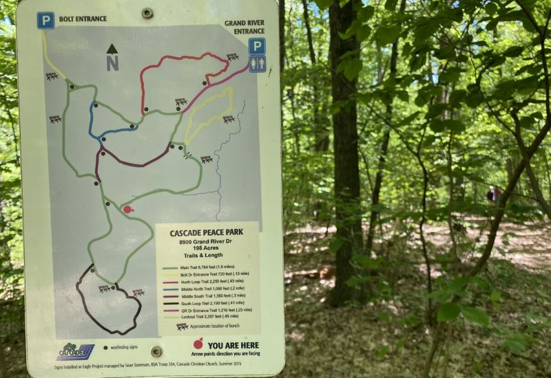 cascade peace park hiking trail map