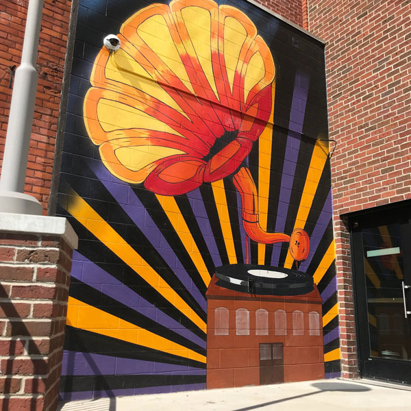 Gramophone Mural on the BOB downtown Grand Rapids