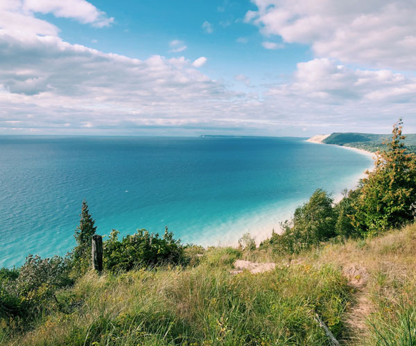 Traverse City fall getaway Empire bluff blue waters view