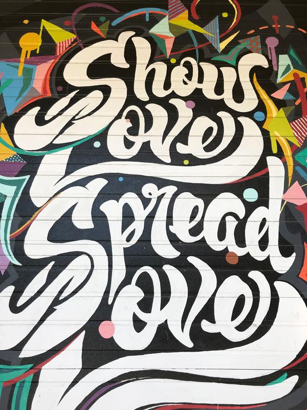show love spread love mural BOB grand rapids