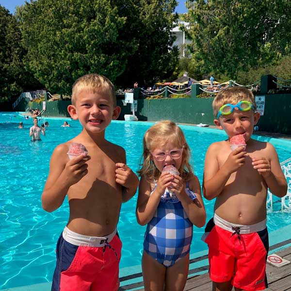 the pool at Grand Hotel on Mackinac Island with kids