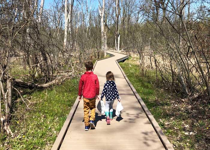 Huff Park trail boardwalk