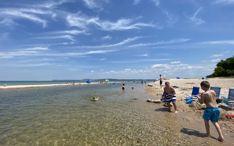platte river tubing leads to lake michigan beach