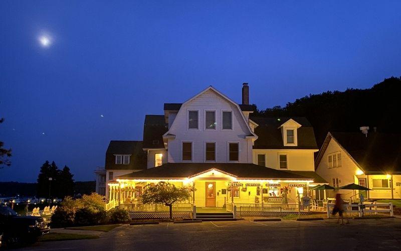 portage point resort at night