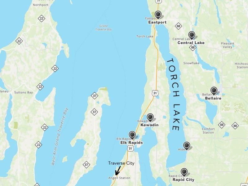 torch lake michigan map
