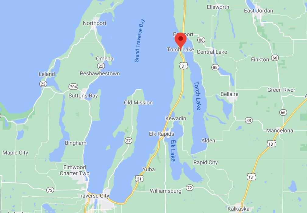 map of torch lake michigan