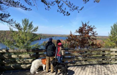 Hiking in Fall Au Sable River Michigan Huron National Forest Lumberman's Monument